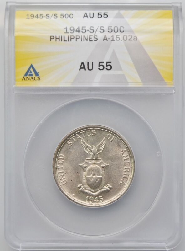 1945-S/S U.S. Philippines 50 Centavos Silver Coin ANACS AU 55 A-15.02a Lusterous