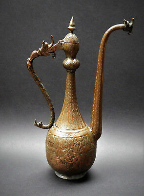 ANTIQUE 19thC PERSIAN ISLAMIC QAJAR QALAMZANI ENGRAVED COPPER EWER, SIGNED