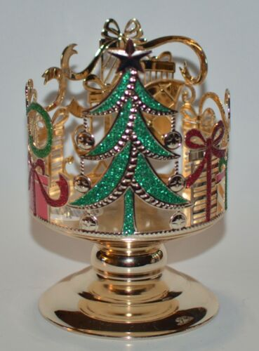 BATH BODY WORKS GOLD TREE GIFTS XMAS PEDESTAL LARGE 3 WICK CANDLE HOLDER SLEEVE
