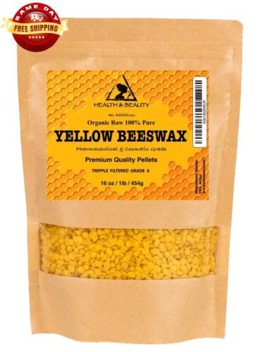 YELLOW BEESWAX BEES WAX by H&B Oils Center ORGANIC PASTILLES BEADS 16 OZ, 1 LB