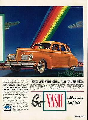 1941 NASH AMBASSADOR ORIGINAL LAMINATED AD ART SAME DAY SHIPPING!!