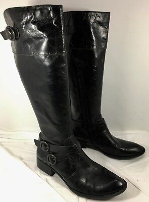- Women's Born Crown Brown patent leather Harness Knee High Boots LIRA Sz 7.5
