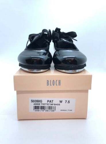 Bloch Annie Tyette Youth Tap Shoes Black Patent Size 7.5 NEW!