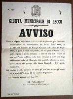 Giunta Municipale Di Lecco Avviso Estrazione Prestito Sindaco Resinelli 1876 -  - ebay.it