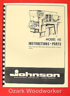 Johnson Hs High Speed Horizontal Band Saw Parts Manual 0402