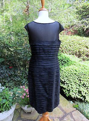 ANNE KLEIN Black Shutter Pleat Silk Dress LBD 14 NEW TAGS - Shutter Silk