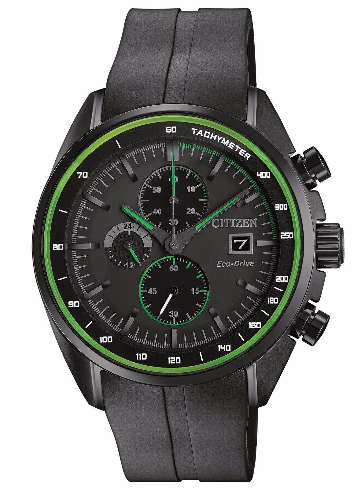 $129.99 - Citizen Eco-Drive Men's CA0595-11E Chronograph Green Accents Black Sport Watch