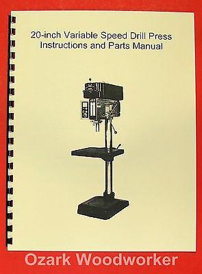 Jetasian Jdp-20vs 20 Variable Speed Drill Press Operators Parts Manual 0392