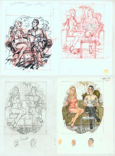 Doug Sneyd Original Art Sketch Set ~ What Happens in Vegas Playboy Jazz Festival
