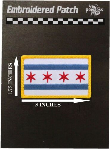 Chicago Flag Patch Gold Border 1.75 x 3