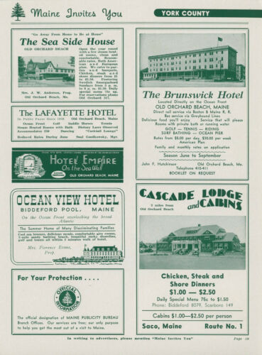 1942 Cascade Lodge & Cabins Travel Ad Maine Old Orchard Beach + Sea Side +
