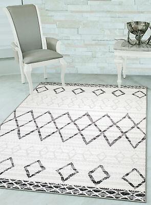 White Moroccan Tribal Modern Contemporary Area Rug with Non-