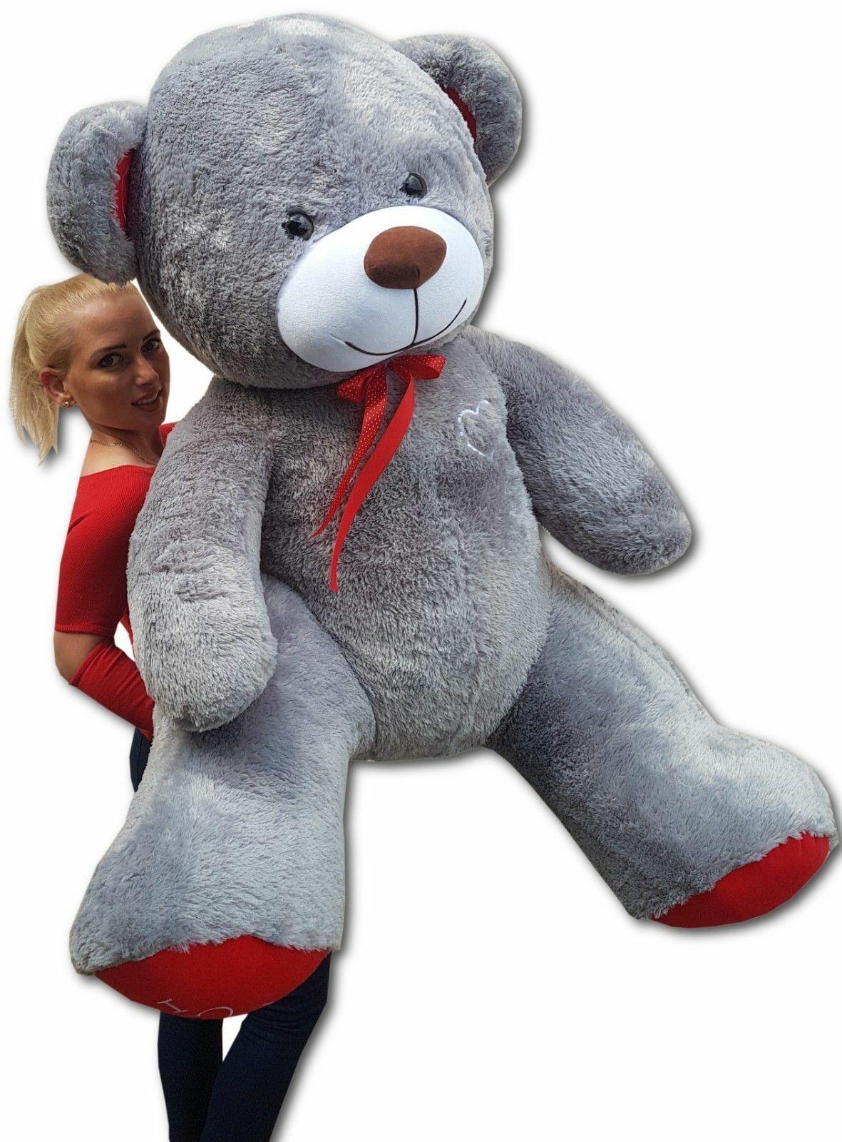 XXL Teddybär Plüsch Kuschel Stoff Tier Riesen Teddy Bär Valentinstag Geschenk XL Grau - Rot