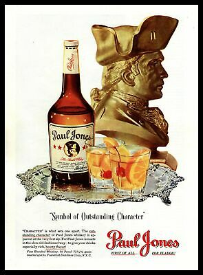 """1948 Paul Jones Whiskey """"Symbol Of Outstanding Character"""" Old Fashions Print Ad"""