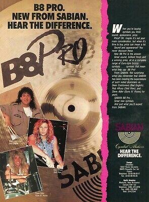 1990 Print Ad of Sabian B8 Pro Cymbals w Rob Affuso Steve Adler Deen Castronovo comprar usado  Enviando para Brazil
