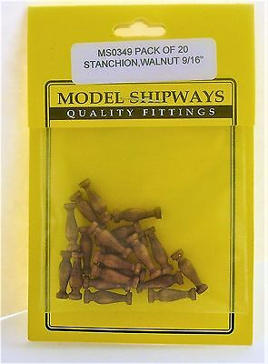 Model Shipways Fittings MS 0349 Walnut Stanchions 9/16'' (14mm). 20 Per Pack.