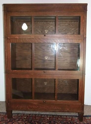 MACEY OAK PANEL ROLL UP DOORS BARRISTER LAWYER BOOKCASE ARTS & CRAFTS MISSION