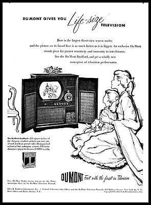 1949 DUMONT TELEVISION Gives You Life Size Tv Mother Girl vintage art Print Ad