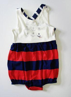 Ralph Lauren Baby Girls Nautical Shortall Romper Dockwash White Sz 24M - NWT