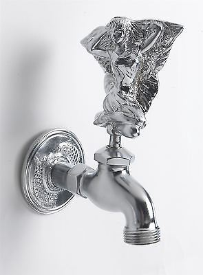 Bright Chrome Flower Fairy Outdoor Garden Tap