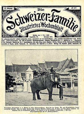 Siamesischer Elefant in voller Kriegsausrüstung Historische Aufnahme von 1908