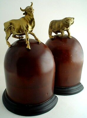 Antique Wall Street Stock Market Bookends Bronze Bull and Bear on Domed Wood