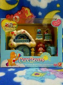 Care Bears Lot Bedtime House  Box Tenderheart Figure Poseable  VINTAGE VERY RARE