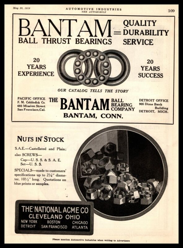 1919 Bantam Connecticut Ball Thrust Bearings National Acme Cleveland OH Print Ad