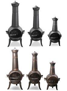 santa reno cast iron chiminea outdoor fireplace yard