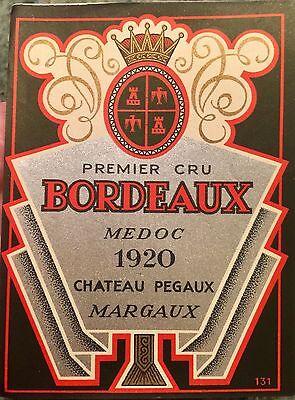 Vintage PREMIER CRU BORDEAUX Medoc Chateau Pegaux MARGAUX Unused