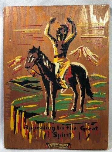GLACIER NATIONAL PARK Souvenir Oil Paint NATIVE AMERICAN Great Spirit WallPlaque