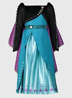 DISNEY FROZEN 2 BLACK & TEAL ANNA COSTUME FANCY DRESS KIDS  2-10 YRS BNWT
