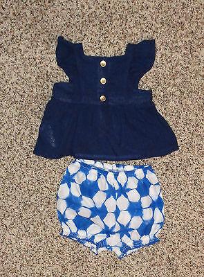 Cherokee Baby Girls 2 Piece Shorts Shirt Outfit Blue White Newborn Size NEW Cherokee Newborn Girls Short
