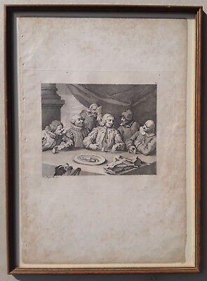 William HOGARTH: COLUMBUS BREAKING THE EGG, Kupferstich, gerahmt, um 1800