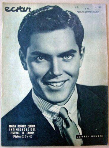 1956 JEFFREY HUNTER Cover ANITA EKBERG Backcover ECRAN Magazine CHILE