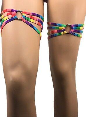 Exotic Dancewear Garter Leg Wraps Rainbow Thigh Wraps Rave Outfit Festival LGBT