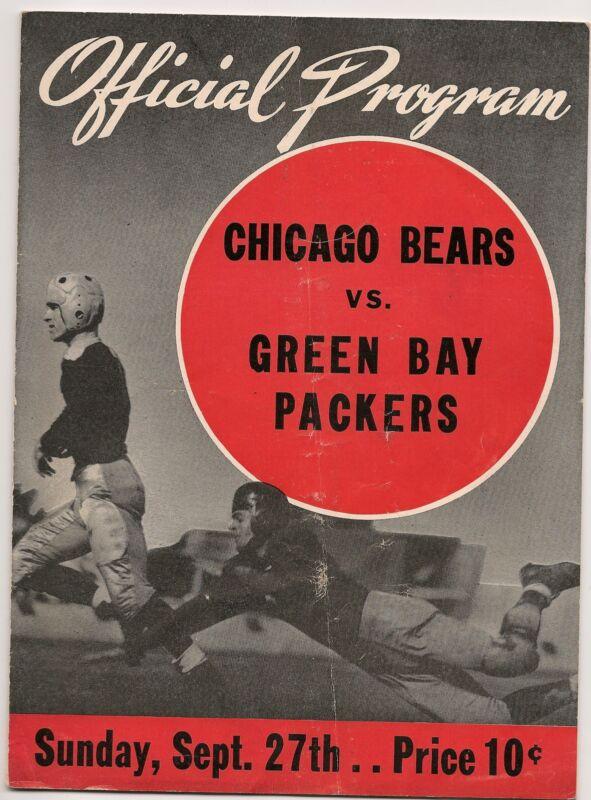 1942 Green Bay Packers-Bears Program Bears Blast Pack in Opener EX!!