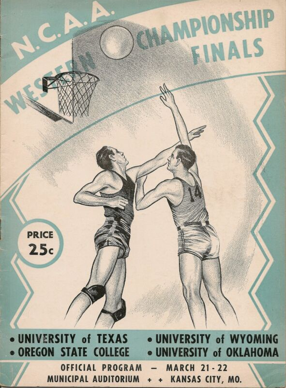 1947 NCAA Western Championship Program Oklahoma Texas Oregon State Wyoming EX!!