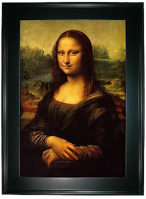 da Vinci Mona Lisa -Black Gallery Framed Canvas Print Repro 25 x 34