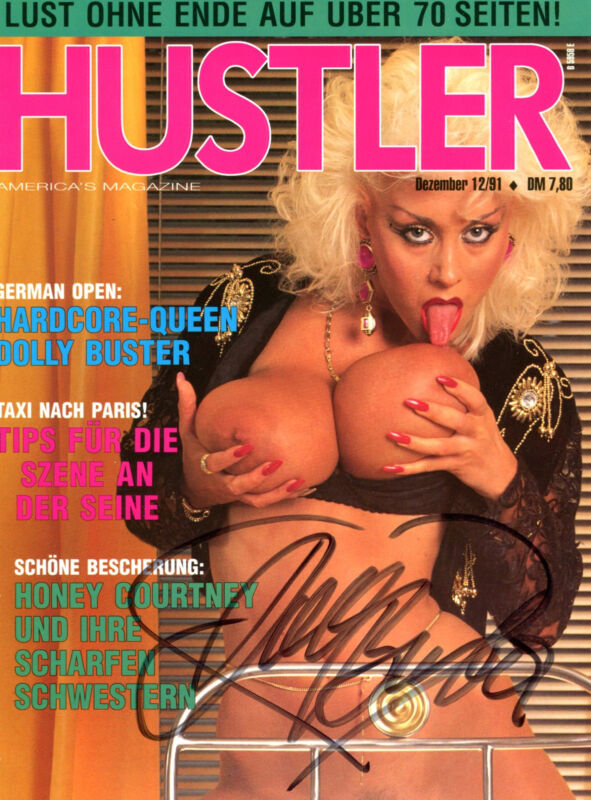 Dolly Buster ACTRESS autograph, signed HUSTLER magazine cover