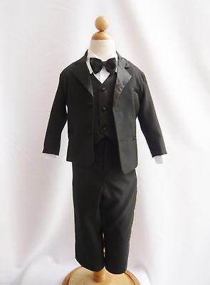 BOYS Black Tuxedo suit Satin trim wedding Christmas Holiday Bow tie vest pants](Boys Christmas Suit)