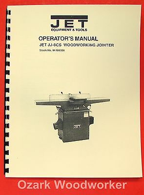 Jetasian Jj-8cs 8 Wood Jointer Operators Parts Manual 0376