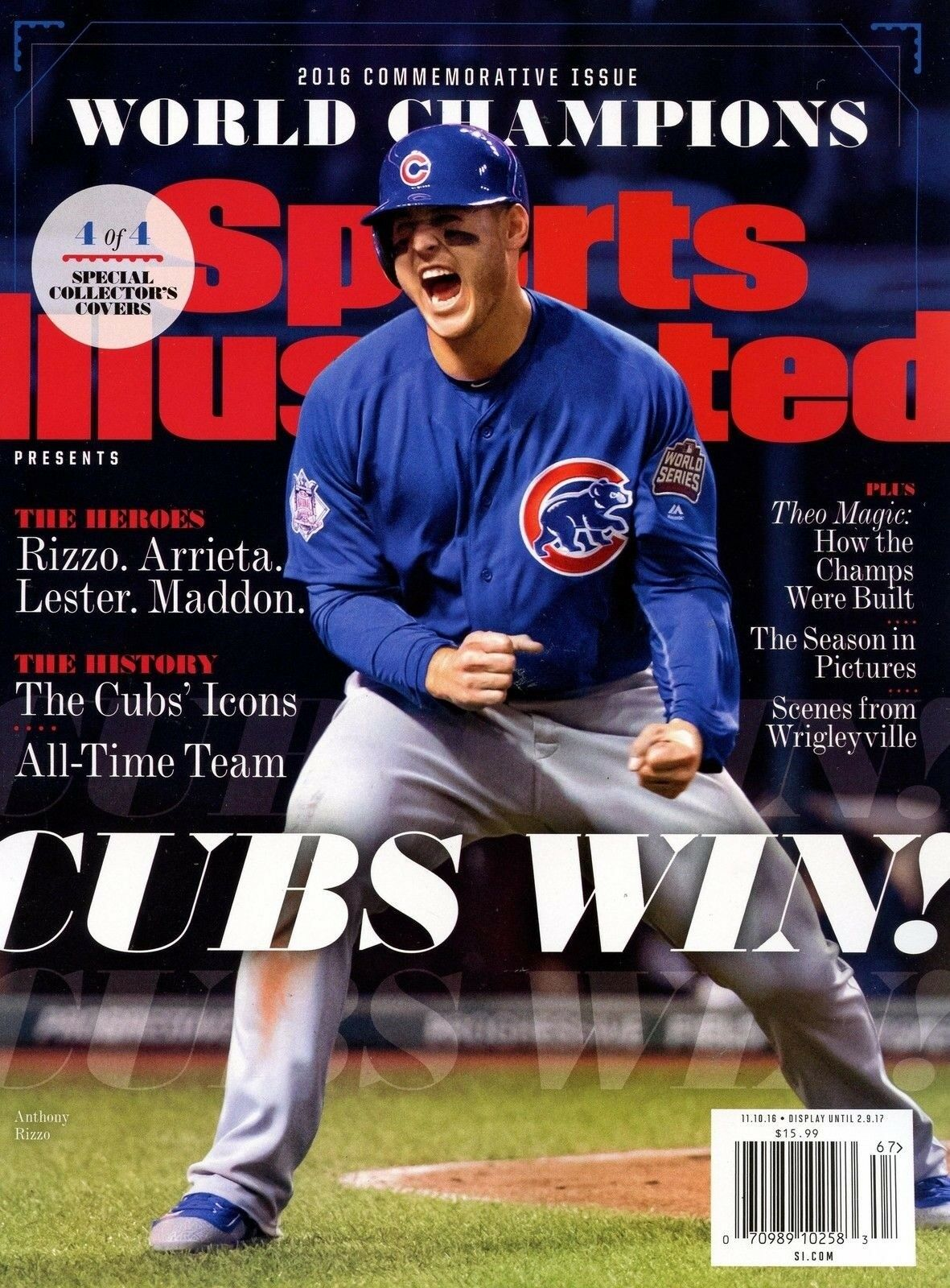 Sports Illustrated Magazine Commemorative 2016 Champions Cover 4 CHICAGO CUBS