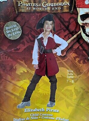 Pirates Of The Caribbean Costumes For Girls (PIRATES of the Caribbean ELIZABETH Girls Halloween Costume Sz Medium 7 8 Age 5)