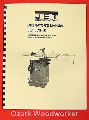 Jetasian Jcs-10 Model 10 Cabinet Table Saw Operators Parts Manual 0889