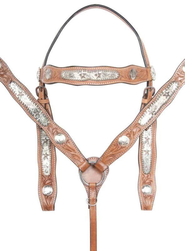 Western Saddle Horse Tack Set Headstall Breast Collar Reins Barrel Racing Racer