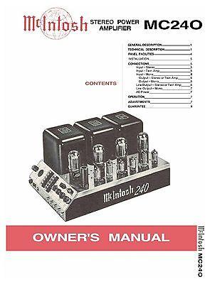 *USA* ULTIMATE MCINTOSH MC240 SERVICE MANUAL TUBE AMP