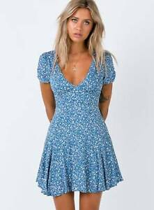 Blue and White Floral Print Mini Summer Dress Size 10 West End Brisbane South West Preview
