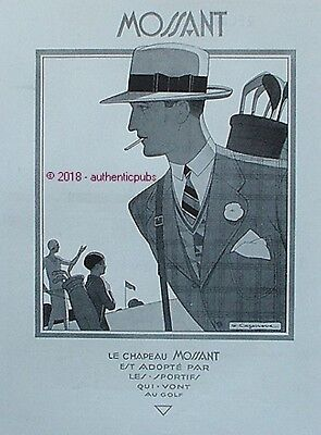 PUBLICITE CHAPEAU MOSSANT SPORTIF AU GOLF SIGNE CAZENOVE DE 1930 FRENCH AD PUB
