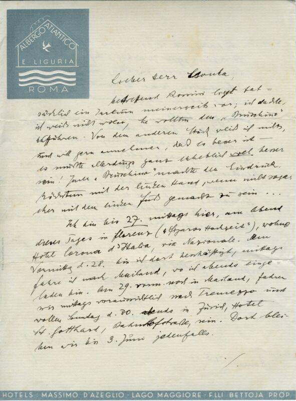 Ernst KRENEK (Composer): Autograph Letter